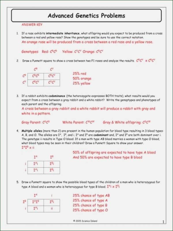 Genetics and Heredity Worksheet Luxury Genetics Problems Worksheet 1 Answers Inspiracao Kids
