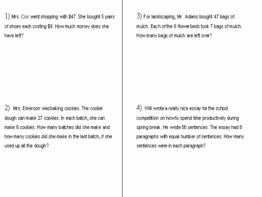 Genre Worksheets 4th Grade Word Problems Money Multiplication Division Worksheet for