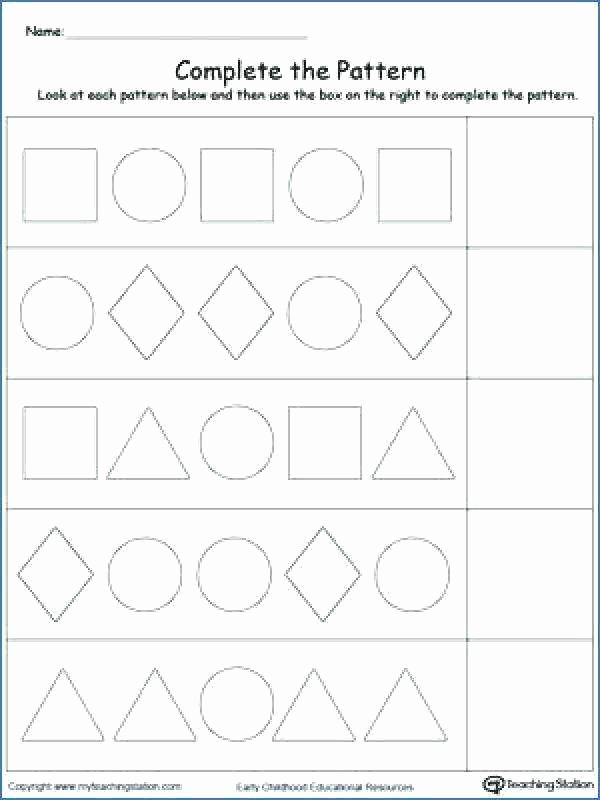 Geometric Shape Patterns Worksheet Math Shape Pattern Worksheets for Kindergarten Number and