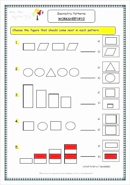 Geometric Shape Patterns Worksheet Pattern Worksheets for First Grade Grade Math Pattern Shape