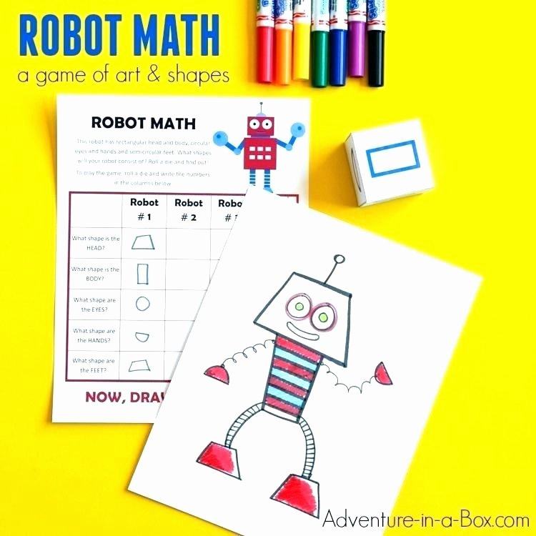 Geometric Shapes Patterns Worksheets Geometric Shape Robot Math is A Printable Game that