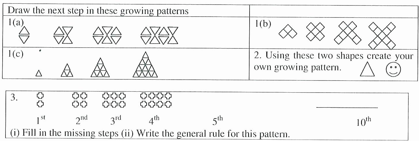 Geometric Shapes Patterns Worksheets Number Patterns Grade 5 Worksheets Free