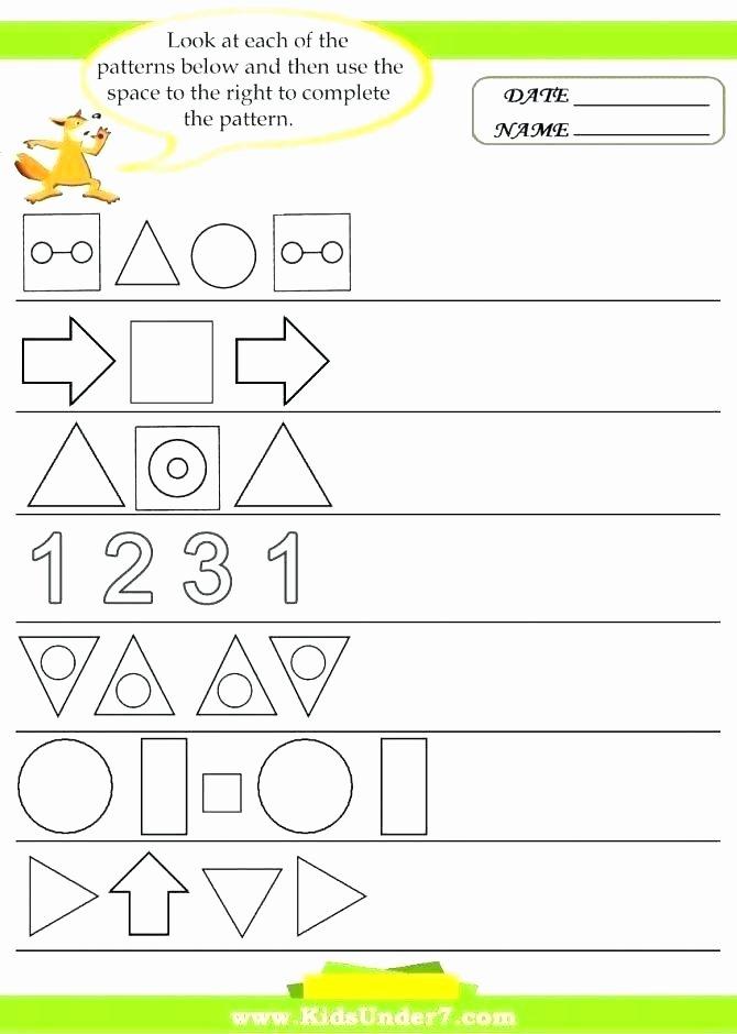 Geometric Shapes Patterns Worksheets Plete the Pattern Worksheet – Kcctalmavale