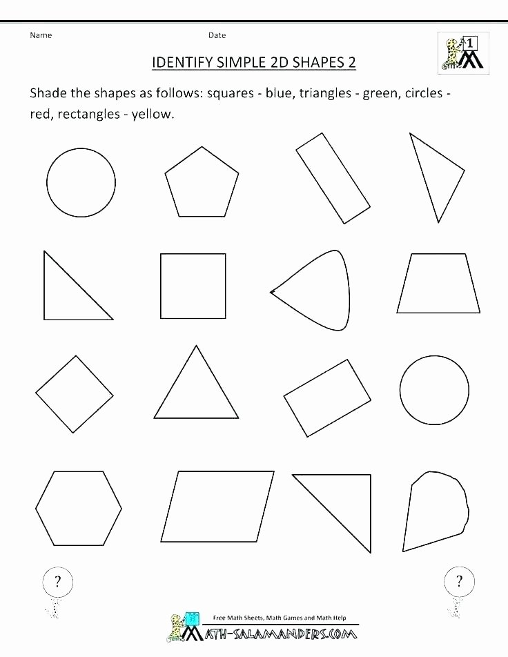 Geometric Shapes Worksheet 2nd Grade First Grade Shape Worksheets – Trungcollection