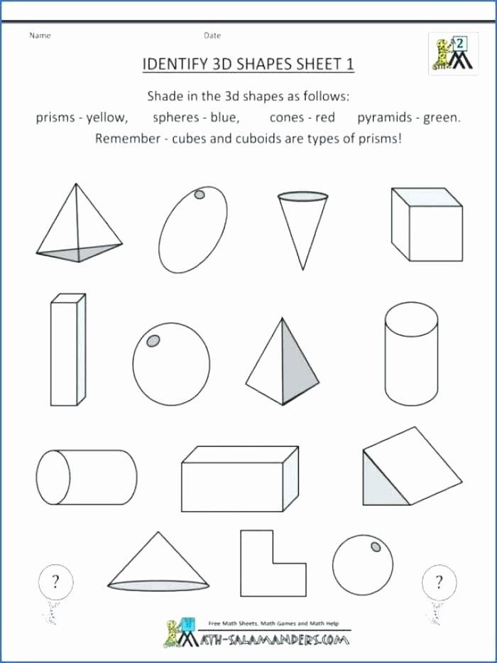 Geometric Shapes Worksheet 2nd Grade Grade Geometry Worksheets 3 D Shapes Grade 3 D Shapes