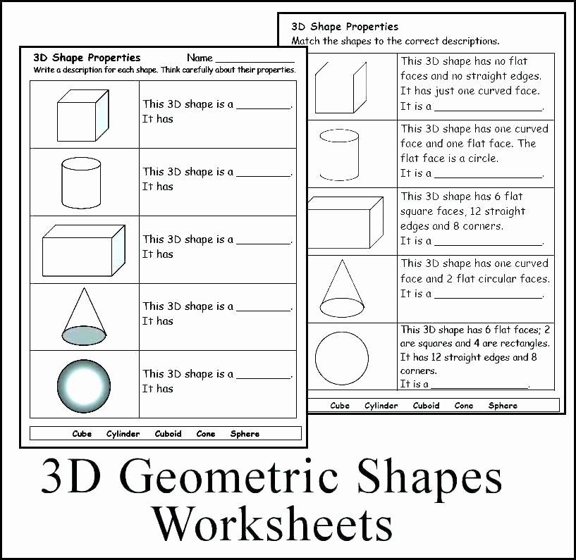 Geometric Shapes Worksheets 2nd Grade solid Figures Worksheets