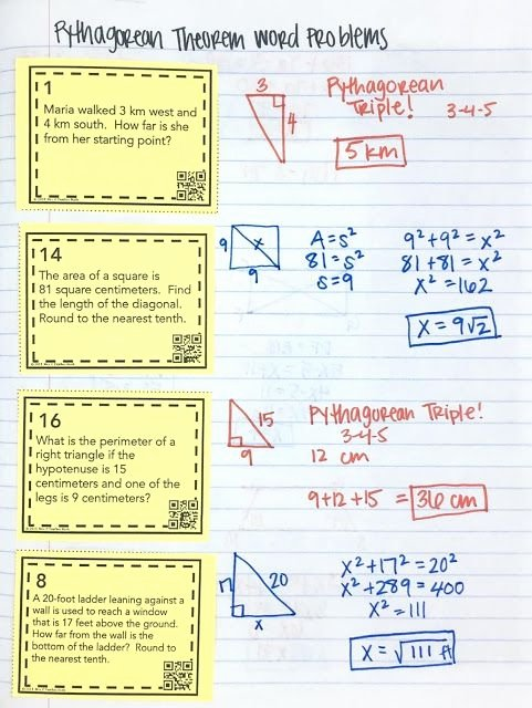 Geometry Word Problems Worksheets Pythagorean theorem Inb Pages Geometry