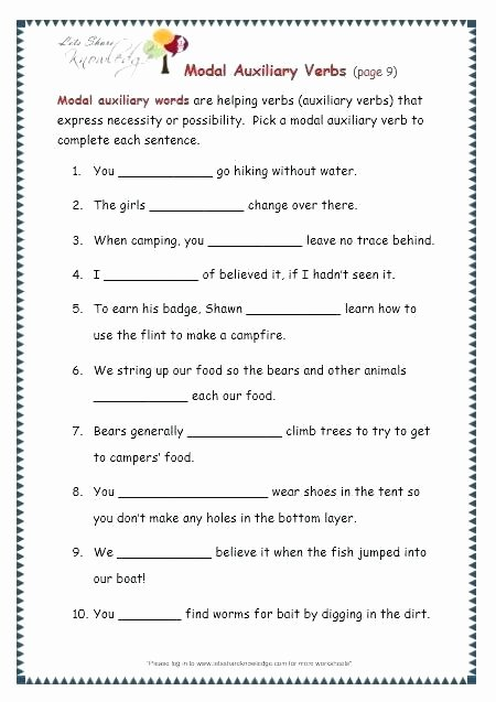 Grammar Camp Worksheet Packet 4th Grade Grammar Worksheets Pdf Printable Lovely Verb 4