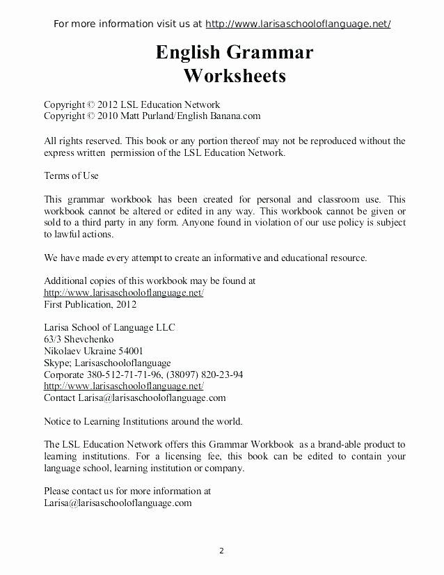 Grammar Worksheets for 2nd Grade Free Printable Worksheets for Grade 2