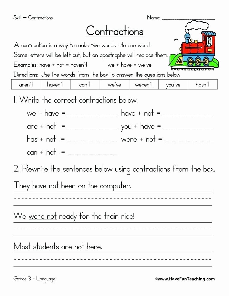 Grammar Worksheets for 3rd Grade Contractions Grammar Worksheets