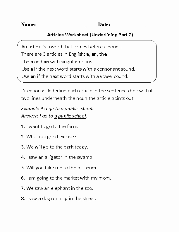 Grammar Worksheets for 8th Graders Englishlinx Articles Worksheets