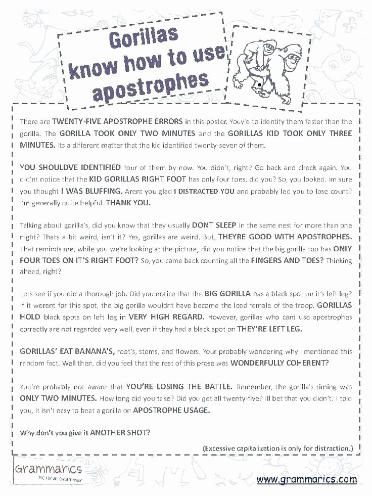 Grammar Worksheets High School Inspirational Free Grammar Worksheets Middle School Free Apostrophe