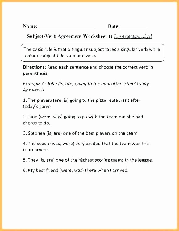 Grammar Worksheets Parallelism Answers Unique Subject Verb Agreement Worksheets with Answers