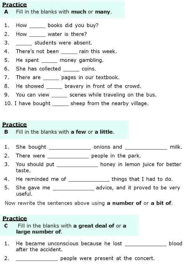 Grammatical Error Worksheets Grade Grammar Worksheets 6 Lesson Quantifiers 1 6th Pdf Third