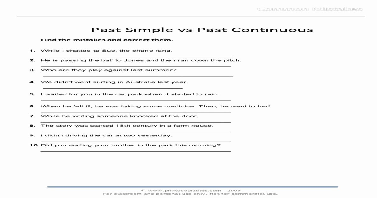 Grammatical Error Worksheets Past Simple Vs Past Continuous Mon Mistakes Free Esl