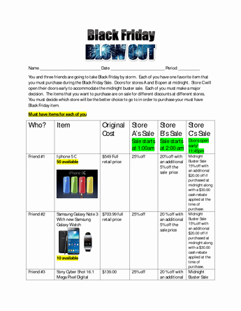 Grocery Store Math Worksheets Black Friday Blowout Summative assessment