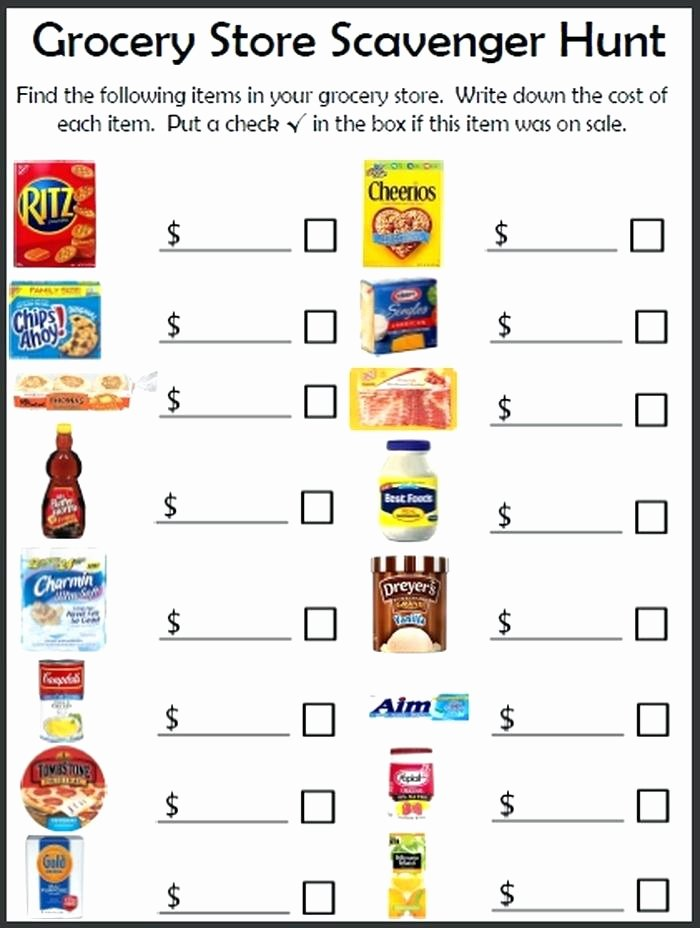 Grocery Store Math Worksheets Grocery Shopping Math Worksheets Free Store for Students