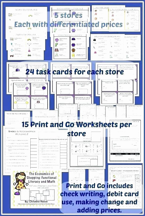 Grocery Store Math Worksheets Special Ed Math Worksheets
