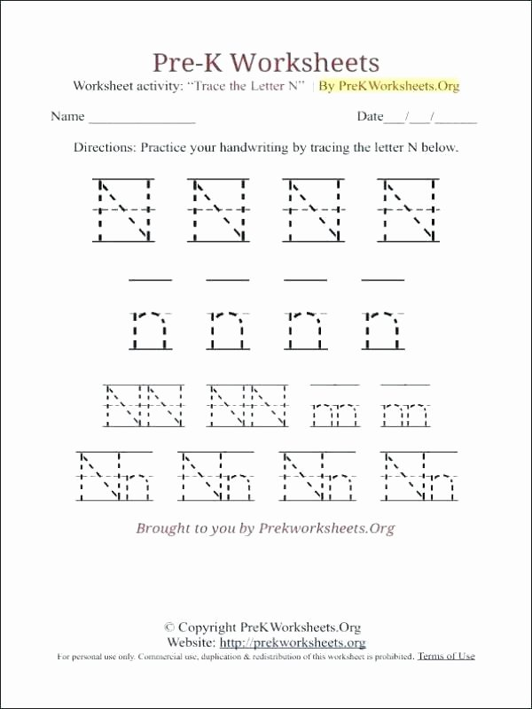 H Tracing Worksheet K Tracing Worksheet N Number Worksheets Printable Preschool