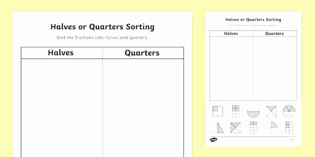 Halves and Fourths Worksheets sorting Worksheets for Kindergarten