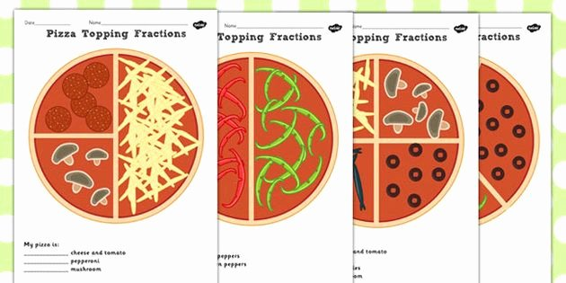 Halves Thirds Fourths Worksheets Pizza Fractions Worksheets Halves Quarters and Thirds