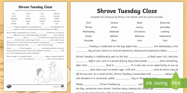 reading and writing worksheets with shrove tuesday cloze activity sheet pancake day of reading and writing worksheets