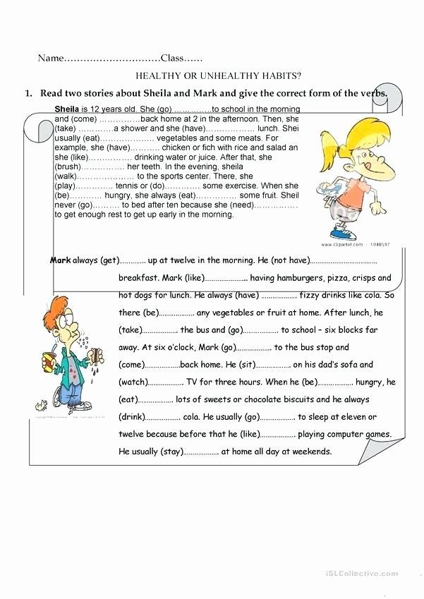 Healthy Habits for Kids Worksheets Good Health Habits Worksheets Od Eating Worksheet Free