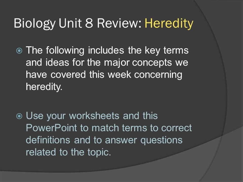 Heredity Traits Worksheets Lovely Biology Unit 8 Review Heredity Ppt