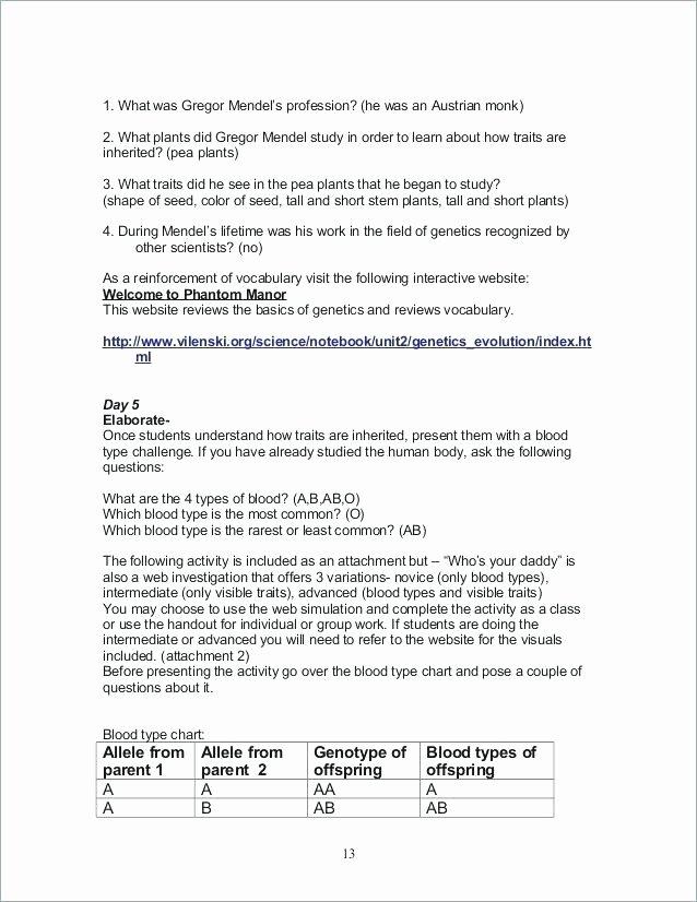 Heredity Traits Worksheets New Mendelian Genetics Worksheets Answers – Morningknits