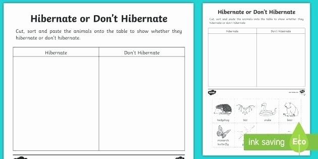 Hibernation Worksheet for Preschool Free Printable Science Worksheets for Grade Hibernation Pre
