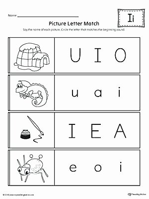 Hiset social Studies Worksheets Letter I Worksheets Picture Letter Match Letter I Worksheet