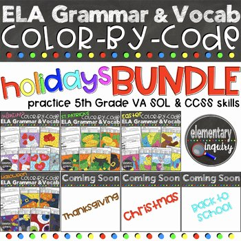 Holiday Color by Number Worksheets Ela Grammar and Vocabulary Holiday Color by Code Worksheets Bundle