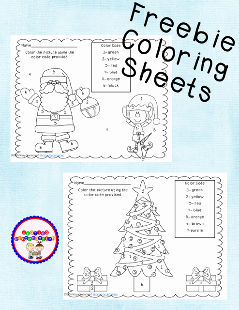 Holiday Color by Number Worksheets Freebie Coloring Sheets for Polar Express or Christmas