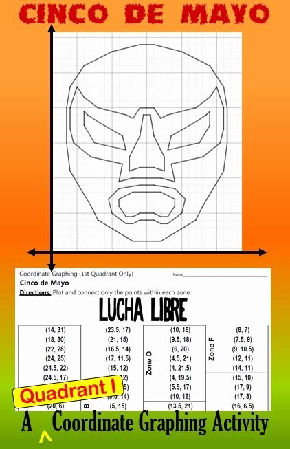 Holiday Coordinate Graph Lucha Libre A Quadrant I Coordinate Graphing Activity
