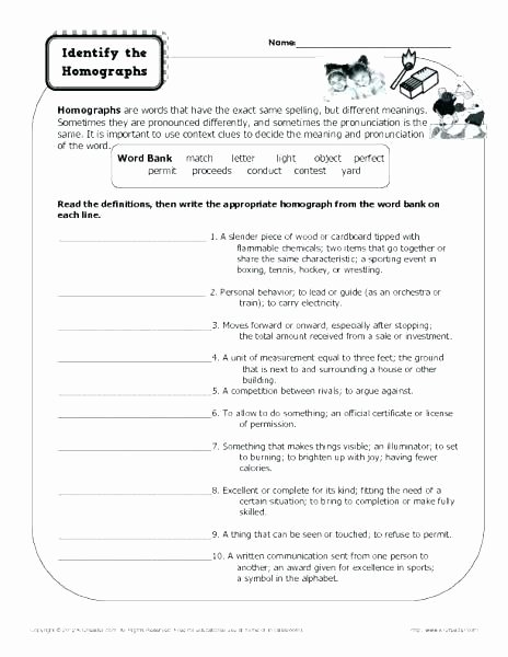 Homograph Worksheet 5th Grade Multiple Meaning Words Worksheets High School