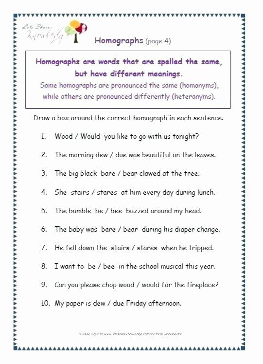Homograph Worksheet 5th Grade Third Grade Grammar Worksheets Useful Free Printable for 1