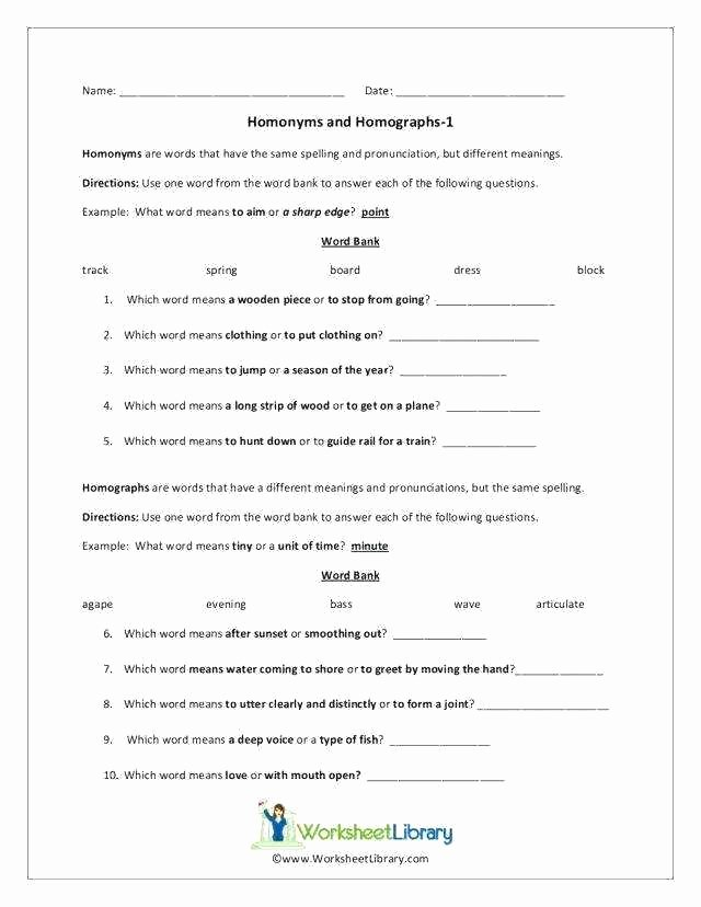 Homograph Worksheets 5th Grade Homograph Worksheets Free 5th Grade What are Homographs