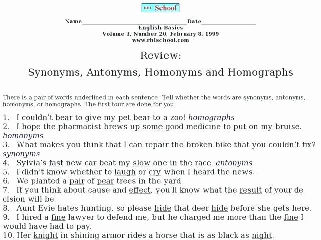 Homograph Worksheets 5th Grade Homophone and Homograph Worksheets 1 Classroom Homographs