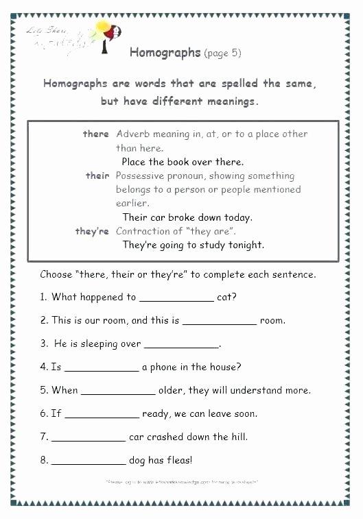 Homograph Worksheets 5th Grade Vague Language Worksheet