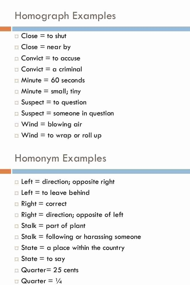 Homographs Practice Worksheets Mon Homographs In English with Examples