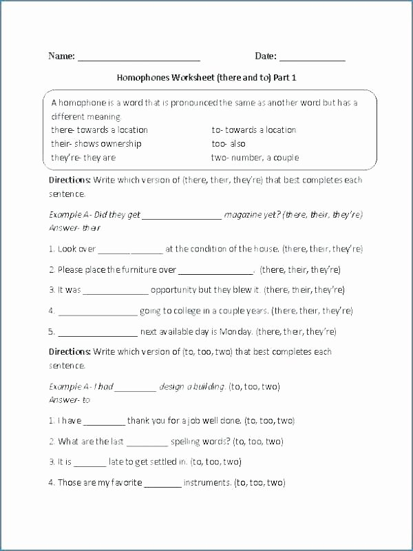 Homographs Worksheets Pdf there their they Re Practice Worksheets