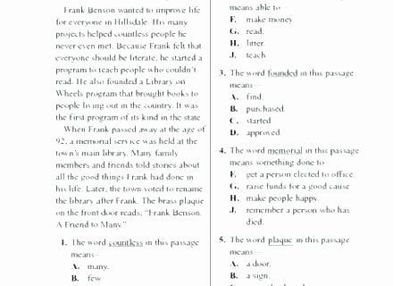 context clues worksheets grade teaching vocabulary free after reading through the passage students will be asked to answer with answers 37 worksheet a