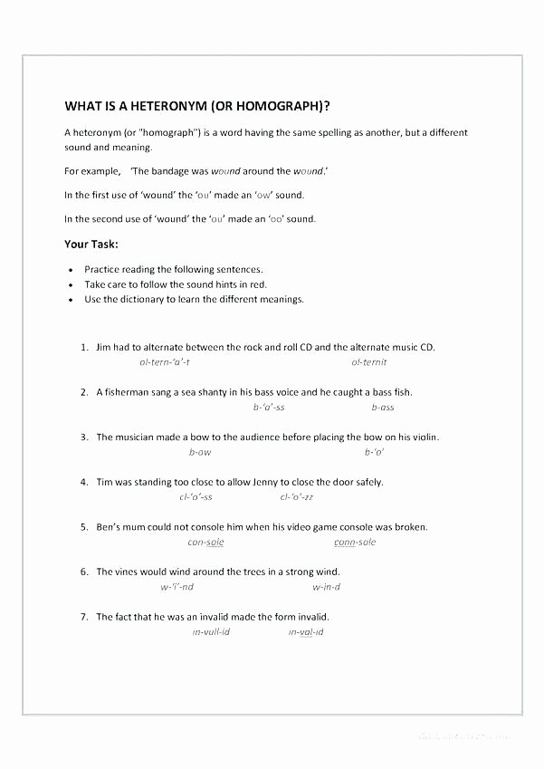 Homographs Worksheets with Answers Homonyms Worksheets