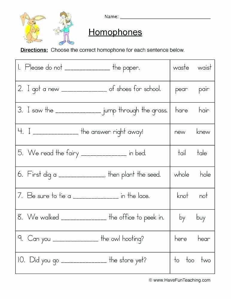 Homonym Worksheets High School Free Homophone Worksheets