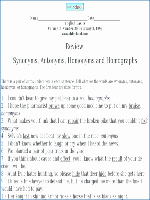 Homonym Worksheets High School Homonyms Homographs and Homophones Worksheets Answers