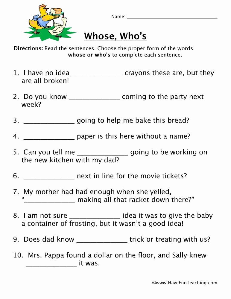Homonym Worksheets High School Homophone Worksheet whose who S