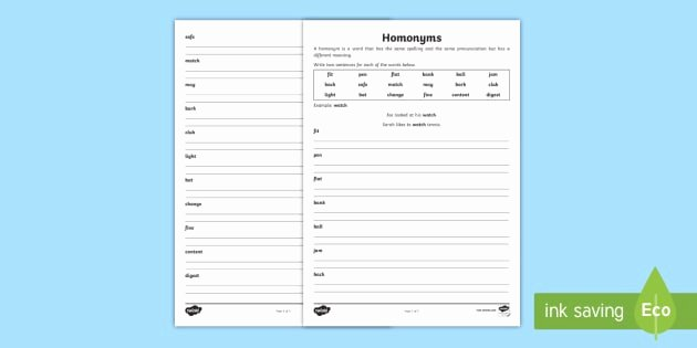 Homonyms Worksheet Pdf Homonyms Double Meanings Worksheet Homonyms Double