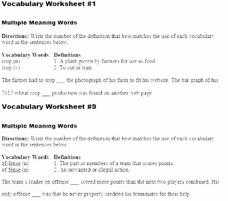 Homonyms Worksheet Pdf Multiple Meaning Words Worksheets Pdf