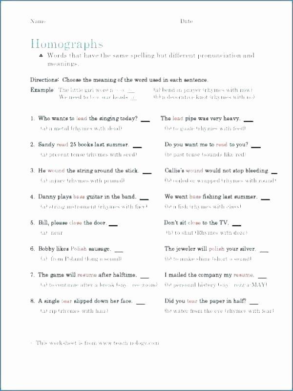 Homonyms Worksheets 5th Grade Homograph Worksheets 5th Grade