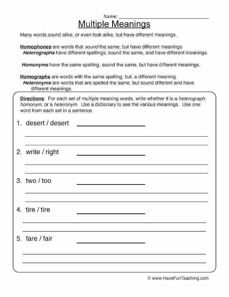 Homonyms Worksheets 5th Grade Homonyms Sentences Worksheets